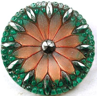 Antique Lacy Glass Button 2 color Sunflower Gorgeous! 1 & 3/16""