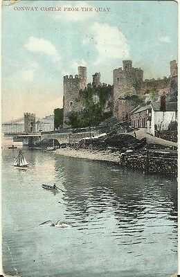 Conway Conwy Castle from the Quay Used 1909 Postcard + Stamp Wales