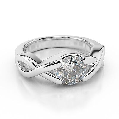 0.75 CT Genuine Round Cut Enhanced Diamond Engagement Ring 18K White Gold D/SI1