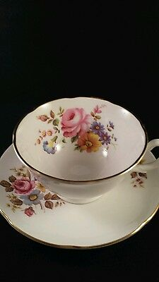 Royal Grafton English Bone China Teacup and Saucer Rose and Multicolor Flowers