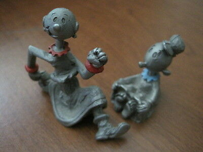 POPEYE friends OLIVE and SWEE'PEA Spoontique pewter figures 1980