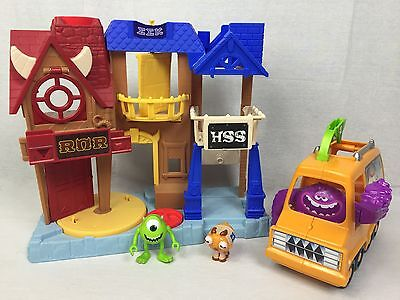 Monsters Inc Imaginext Monsters University Playset w/ Bus, 2 Figures Free Shippi