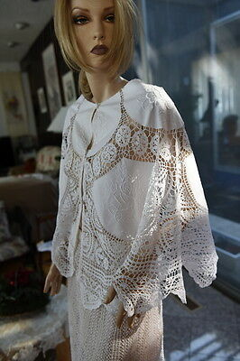 Lim's Cotton Hand Crochet & Embroidery Poncho White