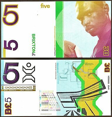 England / Brixton : £5 Banknote, London's local Currency with Urban Style. UNC