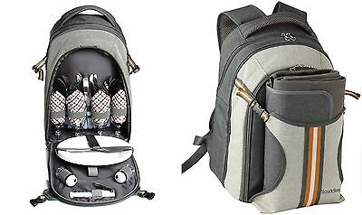 Scuddles Picnic Backpack Basket with Cooler Compartment 4 Person Fleece Blank...