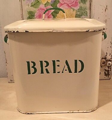 Vintage English Enamelware BREAD Box with Handles & Lid ~ Cream w/ Green Letters