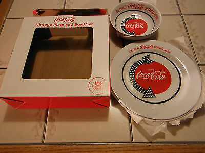 New In Box! Coca Cola Coke 8 Piece Vintage Plate And Bowl Set Free Shipping!