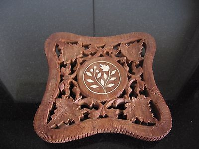 Small Carved Wooden Trivet with Inlaid Flower made in India