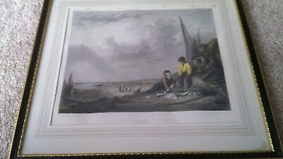 Hand Tinted Engraving Fisher Boys Coast of Norfolk