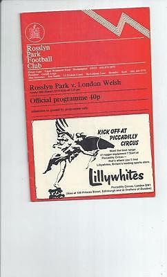 Rosslyn Park v London Welsh Rugby Union Programme 1974