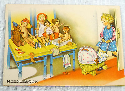 Pop-up Needle Book Girls Sewing with Dolls Teddy Bear Vintage 1930's Germany