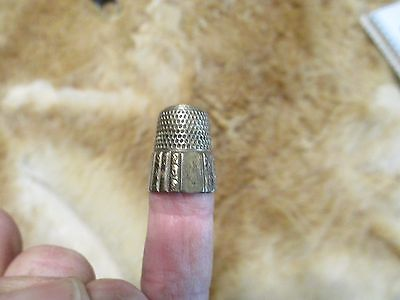 """Lot of 2 antique thimbles Pat Max 28.29 #8's Shield w """"S"""" Ornate Monogrammed"""
