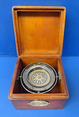 Bronze Life Boat Compass-Boxed And Gimablled