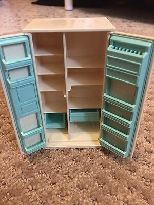 Vintage Tomy Dollhouse Furniture Refrigerator Plastic