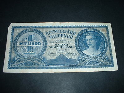 Hungary Ww2 Banknote 1946  1 Billion Pengo 1 Invoice Covers All