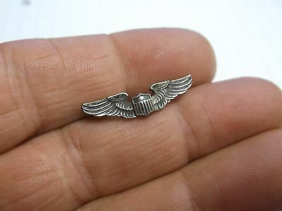 """WWII Sterling 1"""" Sweetheart AAC Army Air Corps Wings Pin"""