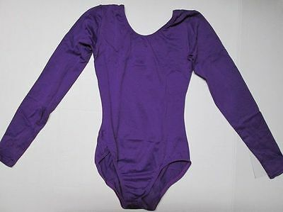 NEW Dance Gymnastics Leotard LA L Large Adult Purple Long Sleeve Women's