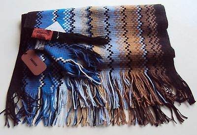 SCARF MISSONI  BLUE BROWN  long MADE ITALY ZIGZAG SIGNATURE NEW TAGS wool mix