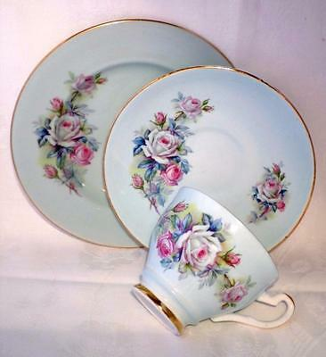 VINTAGE China IMPERIAL Trio ROSE Tea Set SHABBY CHIC 22kt Gold GORGEOUS