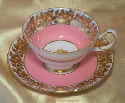 ART DECO Vintage GROSVENOR China ORCHARD GOLD Cabinet Cup & Saucer STUNNING