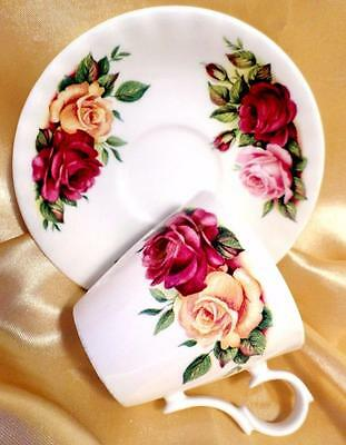 Vintage ROY KIRKHAM Coffee Cup Saucer COTTAGE ROSE China SHABBY CHIC