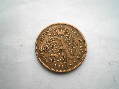 Early 2 Centime Coin From Belgium -Dated 1911-Nice