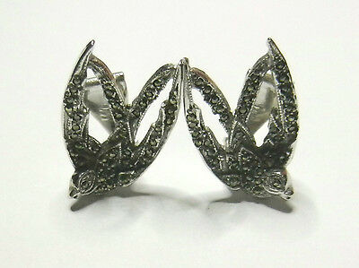 Vintage 1950s Silver Marcasite Swallow Clip On Earrings