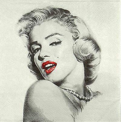 4 Single Lunch Party Paper Napkins for Decoupage Decopatch Craft Marilyn Monroe