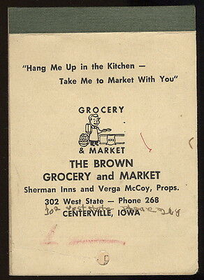 1955 Brown Grocery & Market, Centerville, Ia Pocket Calendar And Grocery List