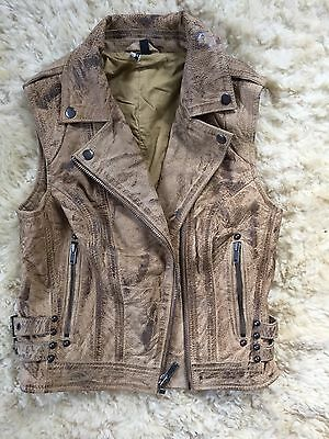 Topshop Distressed Leather Waistcoat Size 8 Brown Beige