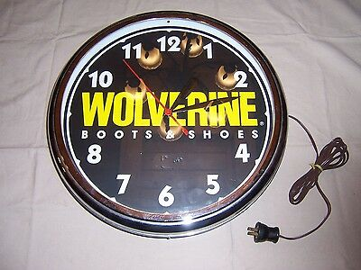 Wolverine Boots & Shoes Advertising Clock Neon Lumichron Grand Rapids Steel Case