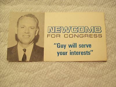 VINTAGE NEWCOMB for CONGRESS  BUSINESS CARD