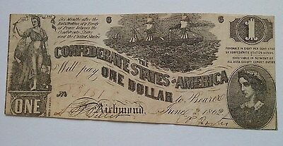 $1 The Confederate States of America Richmond 1862 T-44