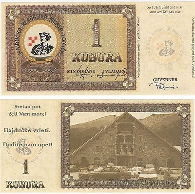 Republic of Hadjucka - 1 Kuburra. Europe's only Microstate with Banknotes. UNC