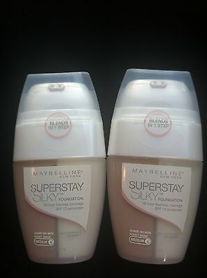 Maybelline Lot of 2 Superstay  Silky Foundation-Honey Beige-Medium 4- Sealed