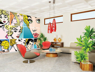 Large Wall Mural Photo Wallpaper Room Decor Couples Kissing Pop Art 3mx2.4m