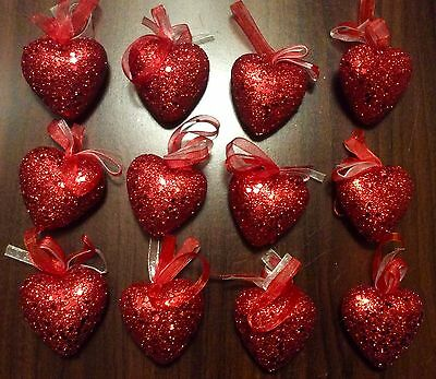 New SET OF 12 RED HEART ORNAMENTS VALENTINE'S DAY WINTER SPRING DECOR