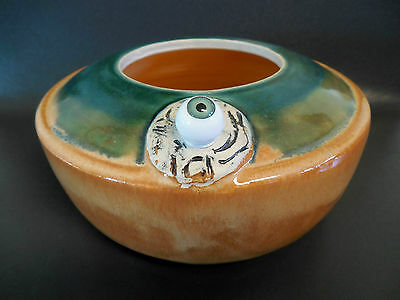 Strange Looking Bowl / Potpourri Dish With Eyeball- Signed and Dated 2013- ADEL