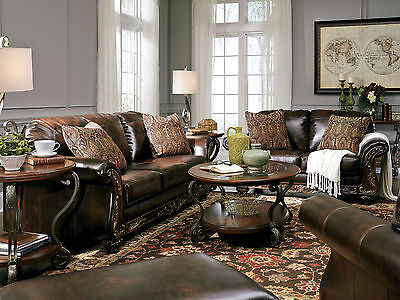DANA - Traditional Brown Bonded Leather Sofa Couch Set Living Room New Furniture