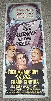 """THE MIRACLE OF THE BELLS Original 1948 MOVIE POSTER INSERT 14"""" x 35"""" Sinatra"""