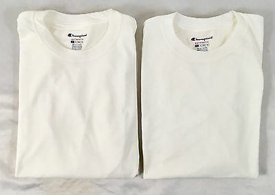 Champion Men TWO Long Sleeve Workout T-Shirt CC8C Ribbed Cuff White Size XL