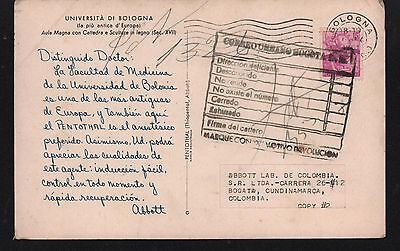 Italy 1961 Post Card From Bologna University Magna Classroom Lecture & Sculpture
