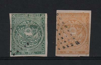 Ecuador 1865 One Real In Green & Yellow French Kind Lozange Postmark Very Fine