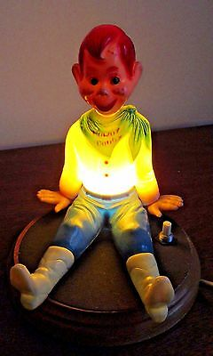 Vintage 1950's Howdy Doody Electric Night Light Works Well  With Wood Base