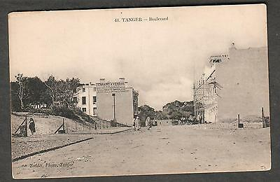 Morocco unmailed post card Tanger - Boulevard /people bulidings/Taddei photo