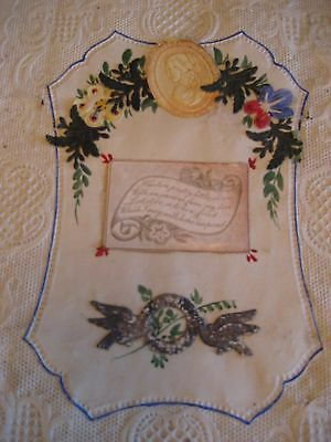 ANTIQUE VICTORIAN 19th. c. CALIGRAPHY-HAND PAINTED AND WAX FORM LOVE LETTER