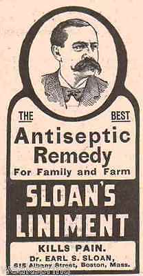 Vintage 1906 print ad for SLOAN'S LINIMENT Antiseptic Remedy ~ Boston, MA