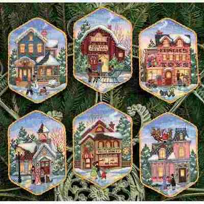 Counted Cross Stitch Kit CHRISTMAS VILLAGE ORNAMENTS Dimensions Gold Collection