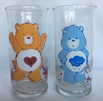 2 VTG Care Bear Glasses Tenderheart And Grumpy 1983 Limited Edition Pizza Hut