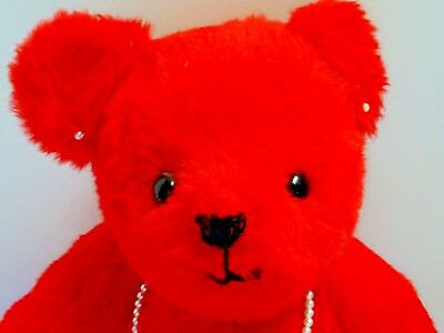 Vintage TEDDY Bear RED Plush ARTIST Made OOAK by LILLIAN Washington STATE 16in